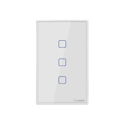 SONOFF T2US3C-TX 3-Gang Smart WiFi-Wandleuchtenschalter 433 MHz HF-Fernbedienung APP / Touch Control Timer US Standard Panel Smart Switch Kompatibel mit Google Home / Nest & Alexa