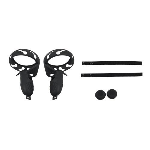 Couvercle de bague de poignée en silicone pour contrôleur tactile Compatible avec Oculus Quest 2 VR Poignée de lunettes Sangle d'articulation réglable Keycaps Accessoires de protection
