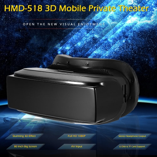 HMD-518 3D Mobile Private Theater 80 Inch Virtual Wide Screen Portable 3D Video Glasses Support U Disk TF Card AV Input Intelligent Media Player Black