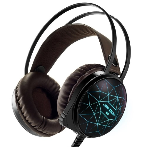 Jindun 3.5mm Stereo PC Gaming Headphones Over-ear 7 Cores LED com microfone para Jogos de Computador