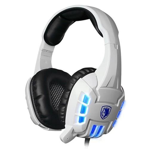 SADES SA718 3,5 milímetros com fone de ouvido estéreo com luz azul LED
