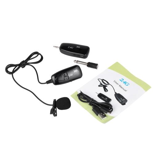 XXD-G18L 2.4G Microfone Sem Fio Mãos Livres Clip-on Lapela Portátil Microfone Externo com Receptor Transmissor para o Rádio Do Carro Home Theater Lazer Preto