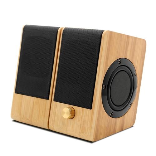 S132 Mini orador de bambu Entrada AUX Música estéreo Hi-Fi Som Subwoofer Dublê USB Fonte de alimentação USB Principais e sub-falantes Home Theater para escritório Home