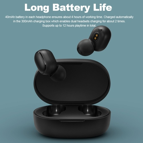 Xiaomi Redmi Airdots Basic Bluetooth 5.0 TWS Earbuds True Wireless Headphones with Mic In-ear Stereo Earphones Twins Sports Headset DSP Noise Reduction AI Control Charging Box