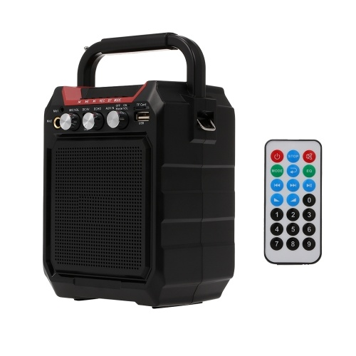 Wireless Bluetooth Speakers 7W Outdoor Loudspeaker FM Radio TF Card AUX IN U Disk Music Player One-click Recording Dual Microphone Input