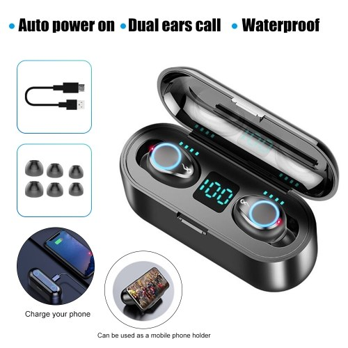 F9 Earphone Bluetooth5.0 Earbuds Dual Ear Headphone Stereo In Ear HD Headset with Charging Box