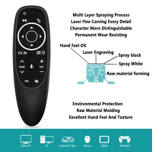 G10S PRO 2.4G Air Mouse Wireless Handheld Remote Control with USB Receiver Gyroscope Voice Control LED Backlight for Smart TV Box Projector