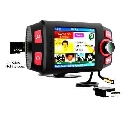 Mini receptor de radio DAB + en el automóvil con reproductor Bluetooth Soporte Transmisor FM con pantalla de 2.4 pulgadas Reproductor de música MP3 Accesorios para automóviles