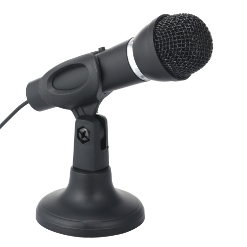 Mini Microphone with Stand 3.5mm Jack Desk Microphone for Computer Gaming Recording Chatting Singing Meeting