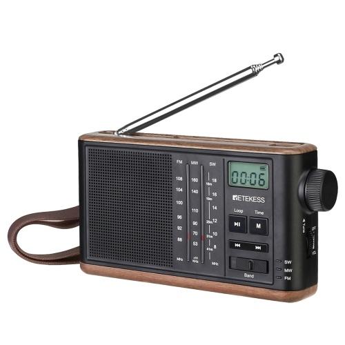Retekess TR613 FM/AM/SW Radio Multiband Radio Receiver TF Card MP3 Player Speaker Clock LCD Display Screen 3.5mm Headphone Jack