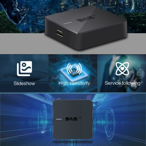 DAB+ 004S DAB Box Digital Radio Antenna Tuner FM Transmission Type-C Powered for Car Radio Android 5.1 and Above (Only for Countries that have DAB Sig