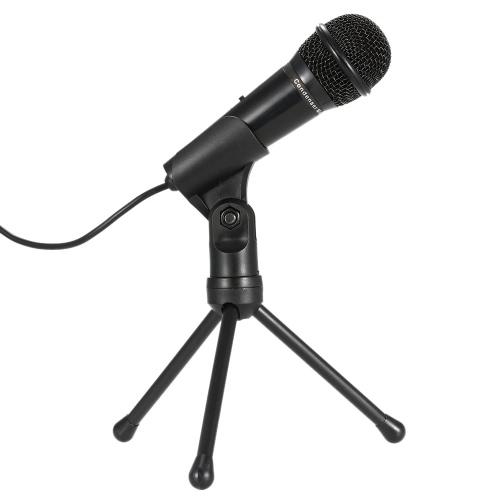 SF-910 professionnel 3,5 mm son Microphone condensateur Studio Podcast w / Stand pour Skype, bureau PC portable (noir)