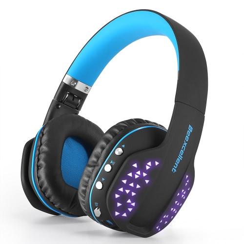 Beexcellent Q2 Беспроводные наушники для наушников Bluetooth По слуховой гарнитуре Светодиодный свет Стерео музыка Hands-free Black with Blue