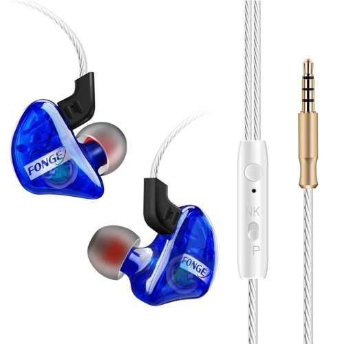 FONGE T01 Wired In-Ear-Ohrhörer Ohrbügel Ohrhörer Stereo Super Bass-Kopfhörer Sport-Headset mit Mikrofon Blau