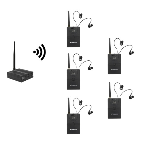 TP-WIRELESS TP-WMS02 In-ear Stage Audio Monitor System Professional 2.4GHz Digital Wireless Monitor System 1 Transmitter 5 Receivers