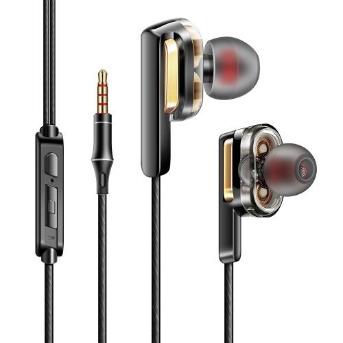 Écouteur intra-auriculaire câblé à double bobine de 3,5 mm avec boîte de rangement