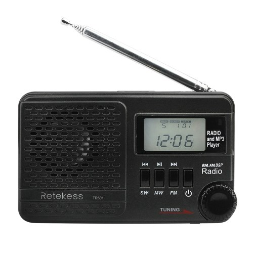 Retekess TR601 FM / AM / SW Radio Multiband Digital Stereo Radio Receiver MP3 Player Speakers Earphone Output Time Display Telescopic Antenna