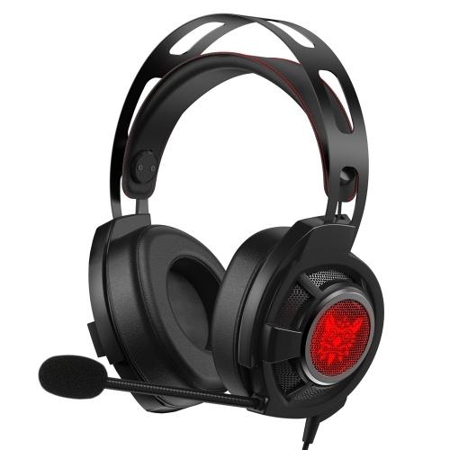 ONIKUMA M190 PRO Auriculares para juegos con cable de 3.5 mm Auriculares para PC Auriculares con cancelación de ruido E-Sport Auriculares con micrófono Luces LED Control de volumen Silenciar Mic para PC Laptop PS4 Teléfono inteligente