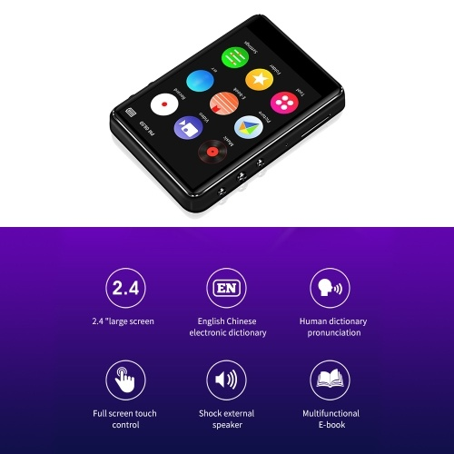 IQQ X62 16GB MP3 Player Metal HiFi Music Player APE FLAC WAV Loseless Audio Player BT Function Touch Screen w/ TF Card Slot 2.4 inches Screen