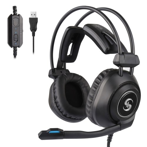 KUBITE K-17 Pro Gaming Headset Over-Ear Headphone with Adjustable Microphone Volume Control Noise Reduction USB for Desktop PCs