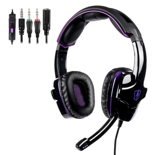 LETTON L8 Gaming Headset 3.5mm Estéreo Over-Ear Headphone com Microfone Ajustável para PC Laptop Telefone Inteligente