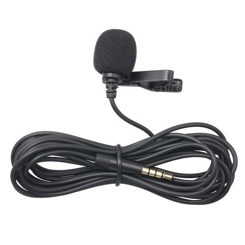 Micrófono con clip de solapa de 3.5 mm Micrófono con solapa para IOS Android / Windows Celulares con clip Podcast Micrófono silencioso para bloggers con cable de 3.0 m