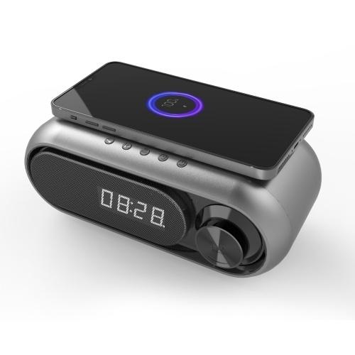 Altoparlante Bluetooth LED Orologio digitale Cassa di risonanza multifunzione Caricabatterie wireless Orologio da tavolo Radio FM Dispositivo di ricarica wireless Wireless