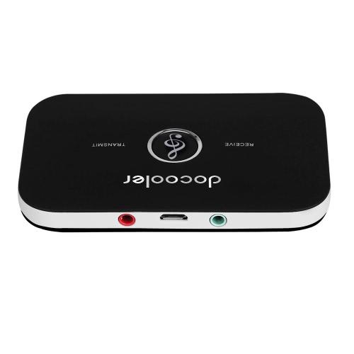 Docooler B6 2 en 1 BT émetteur et récepteur adaptateur audio sans fil BT A2DP lecteur audio portable Aux 3,5 mm Noir