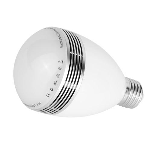 Smart LED Bulb BT Music Lâmpada LED BT 4.0 Speaker 6W E27 / B22 Reprodução de música RGBW Light Lamp com 24 teclas Controle remoto IR para uso doméstico Uso do Office Uso da loja