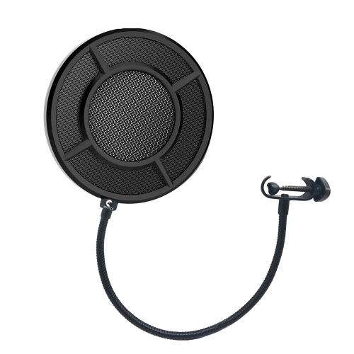 Yanmai Microfone Wind Screen Pop Filter Round Shape Mic Maiscara de vento Shield Screen Double Layer Metal Mesh com suporte Clip para Broadcasting Recording Vocals Studio