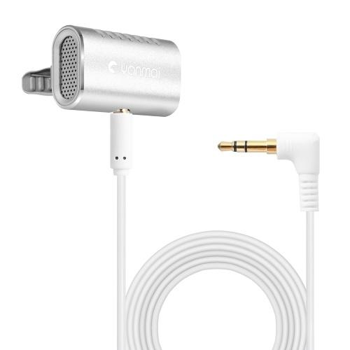 Microfono lavavetri professionale Yanmai Microfono con risvolto automatico Mini microfono risonante Microfono omnidirezionale Youtube / Interview / Studio / Registrazione video Registratori audio da 3,5 mm per smartphone Portatili Videocamere Registratori PC e altro