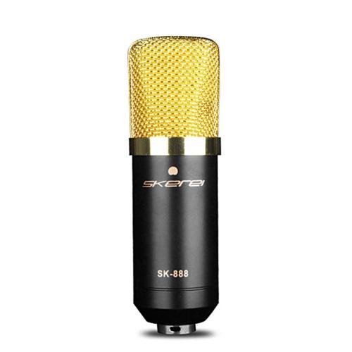 skerei SK-888 Конденсаторный микрофон Проводная профессиональная радиовещательная и звукозаписывающая микрофон Звуковая студия с кардиоидным голосом Mic w / Shock Mount & XLR до 3,5 мм кабеля для KTV Karaoke Singing Recording Kit