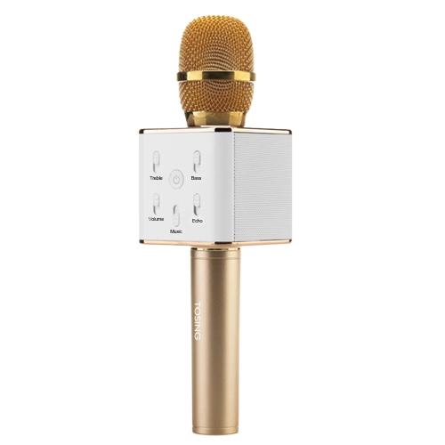 TOSING Q7 Sans Fil Karaoké Microphone BT Haut-Parleur 2-en-1 Handheld Singing Enregistrement Portable KTV Lecteur pour iOS Android Smartphones Tablet PC Champaign Or