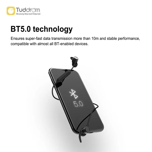 Tuddrom D8 Wireless Bluetooth 5.0 Earphones IPX5 Waterproof Sport Headset Metal Magnetic Earbuds In Ear Headphones Hands-free with Mic