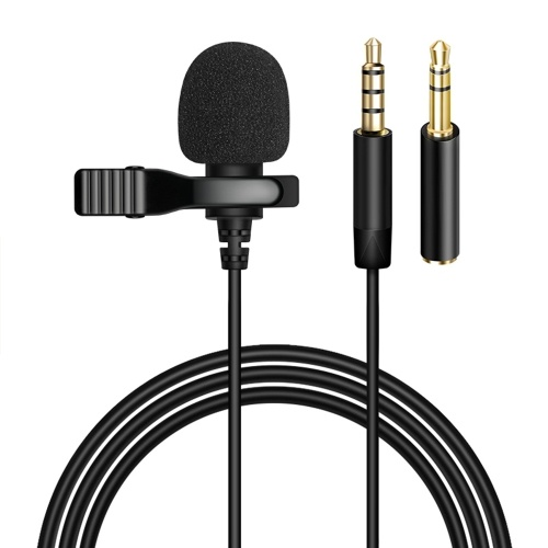 3.5mm Recording Microphone Lapel Clip-on Mic for IOS Android/Windows Cellphones Clip Podcast Noiseless Microphone for Bloggers with 3.0m Wire 3.5mm Audio Adapter 4pin to 3 pin