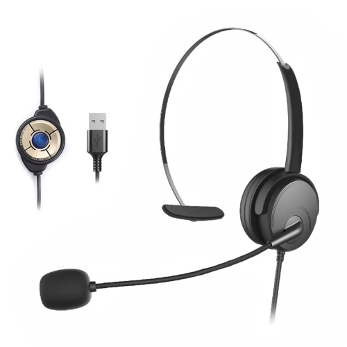OY131 Гарнитура с одним ухом USB-наушники Компьютерные наушники с креплением на голову для правого / левого уха Гарнитуры для call-центра с регулятором громкости в шнуре