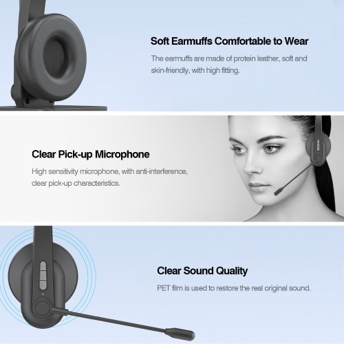 2.4GHz Wireless Headphones Call Center Earphone On Ear Headset with ENC Noise Reduction Microphone Adjustable Headband Volume Control with Charging Dock