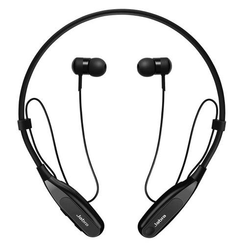 Jabra Halo Fusion Fone de ouvido sem fio BT Música Fone de ouvido Faixa de musculatura Fone de ouvido com fone de ouvido Controle de toque Mãos livres com microfone Preto