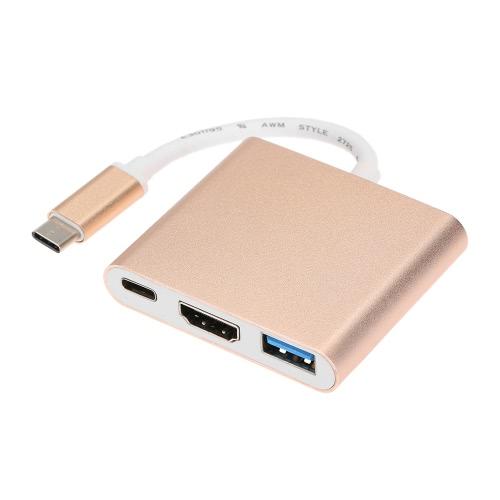 USB 3.1 Тип C к USB 3.0 / 4K * 2K HD / Type C Женский адаптер 3 в 1 Конвертер для нового Macbook 12-дюймовый Google Chromebook Pixel Microsoft Lumia 950 / 950XL и будущие устройства USB типа C
