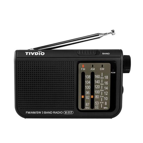 TIVDIO V-117 FM / AM / SW Rádio Preto