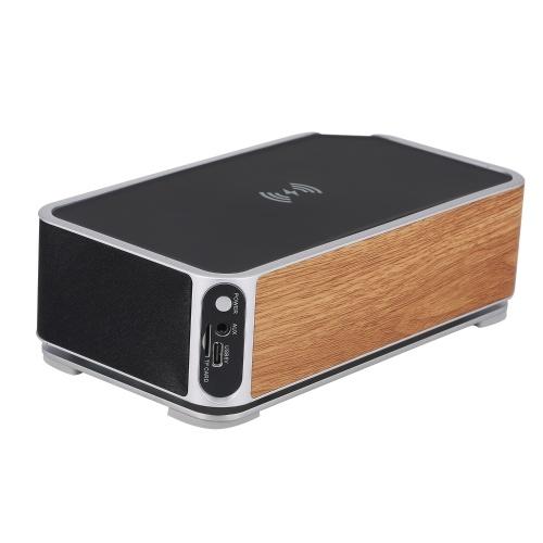 Wireless Charging Alarm Clock BT Speaker Clock LED Stereo Portable Speaker