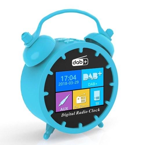 Portátil DAB Rádio FM Despertador LCD a Cores Tempo de Exibição Soneca BT Speaker MP3 Player Suporte Cartão TF Bateria Recarregável