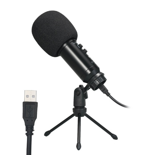 USB Microphone Plug & Play Computer Recording Mic Echo Adjustment for Laptop PC Online Meeting Chatting Studio Recording Podcasting Singing