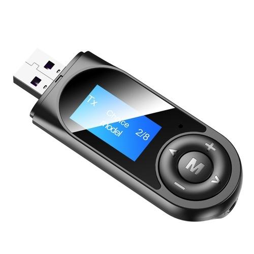 T13 USB Audio Transmitter Receptor Bluetooth 5.0 Adaptador de música sem fio Display LCD 3,5 mm Adaptador de áudio AUX com microfone para TV Alto-falante Fones de ouvido Estéreo de carro