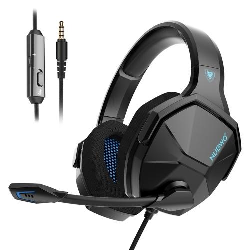 NUBWO N13 3,5-mm-Kabel-Gaming-Kopfhörer über dem Ohr Headset mit Geräuschunterdrückung mit Mikrofon Lautstärkeregler Kompatibel mit PS4 Xbox One PC-Laptop-Smartphone