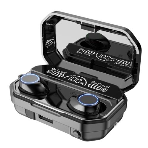A16 BT5.1 Наушники с автоматическим сопряжением HiFi Высококачественный звук IPX7 Водонепроницаемый трехэкранный цифровой дисплей Power Bank Фонарик