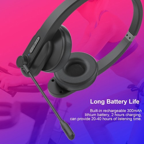 2.4GHz Wireless Headphones Call Center Earphone On Ear Headset with ENC Noise Reduction Microphone Adjustable Headband Volume Control