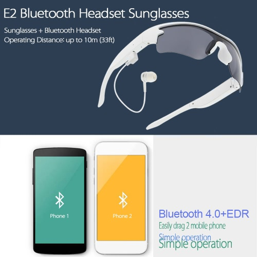 E2 Smart Sunglasses Wireless Bluetooth Stereo Headset Polarized Glasses Solar & Luminous Replaceable Lens Music Headphone Hands-free w/ Mic Self-timer White for iPhone Samsung LG Android iOS Smart Phones Tablet PC