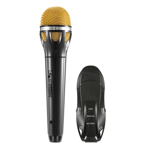 Docooler K18 Wireless Bluetooth Karaoke Microphone Line-in USB Receiver Volume Echo Control Portable - Black with Gold