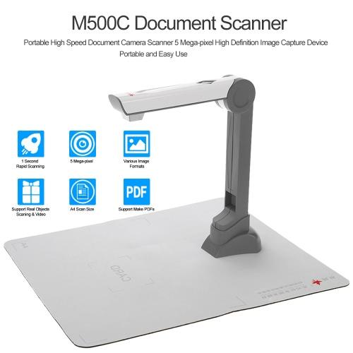 Scanner de documents M500C Scanner d'appareil photo portable haute vitesse (5 méga pixels) Dispositif de capture d'image haute définition Enregistrement vidéo Voyant LED pour fichiers Photos Objets réels